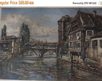 Paul Sollmann Color Etching Landscape Vintage Signed and Framed Art Colored Engraving No 27 Nuremberg Germany