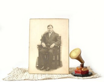Photo Card Man Portrait, Male Sitting in Mission Style Chair, Vintage Sepia Tone Photograph Cabinet Card