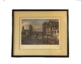 Color Etching Landscape Art, Vintage Signed Paul Sollmann Framed Art, Engraving No 27, Nuremberg Germany