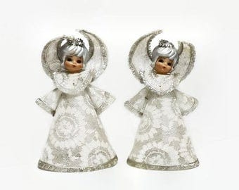 Christmas Angels, Mid Century Holiday Decor, White & Silver Lace Covered Plastic Decorations