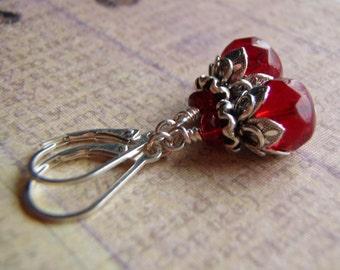 Garnet Red Earrings Sterling Silver Lever Back Ear Wire 9 x 6 mm Czech Glass Dangle