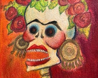 Original Unique Mixed Media Frida Catrina Skeleton Calavera Laughing Margarita Colorful Day of the Dead Illustration 7x15