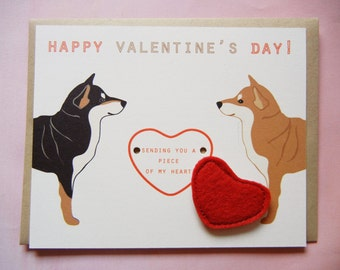 Valentine's or Galentine's Day Shiba Inu Dogs Heart Felt Applique Magnet Note Card with Envelope