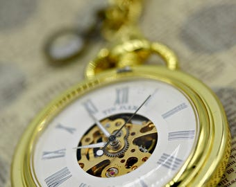 Steampunk Industrial Gold Mechanical Wind Up Pocket Watch with 24 Inch Gold and Brass Chain