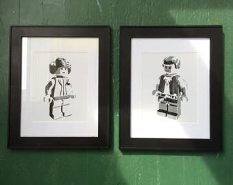 Han and Leia minifigures hand-stenciled framed set of two 8x10 prints