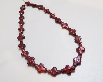 Dark Burgundy Freshwater Cross pearl beads