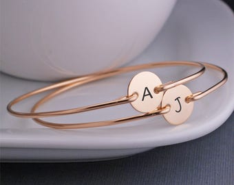 Custom Bracelets, Initial Jewelry, TWO, Custom Personalized Gift for Mom, Engraved Gold Bracelets, Christmas Bracelets
