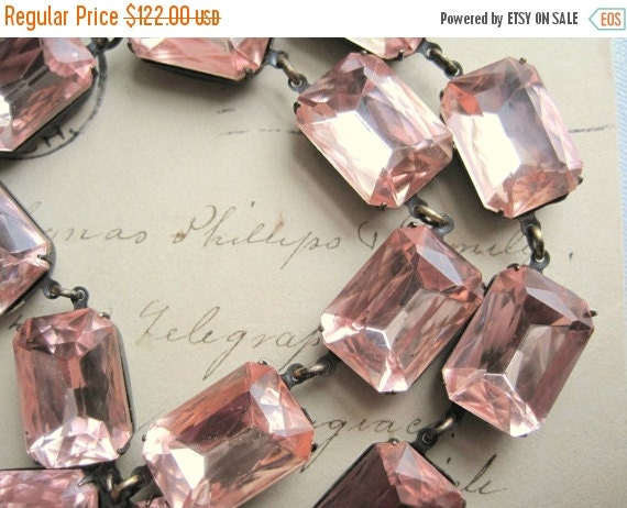 SALE Blush pink Statement Necklace, pink crystal necklace,  georgian collet, Anna Wintour necklace, pink wedding necklace.