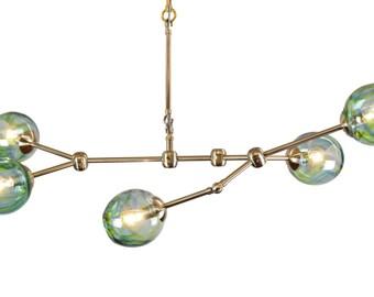 5 Globe Minimalist Verve Branching Blown Glass Chandelier Interior Lighting Made in Rhode Island