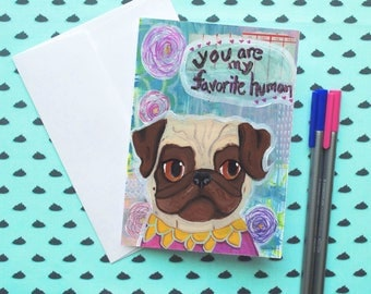 Printable Anniversary Card, I Love You Card, Romantic Card, Pug Greeting Cards, Cards for Her, Friendship Card, Best Friend Card, Pug Gift
