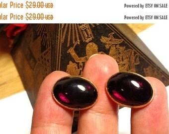 Winter Sale 1950s Mad Men Vintage Mid Century Gold Signed Swank Cuff Links Dark Blood Red Stones Cufflinks Steampunk