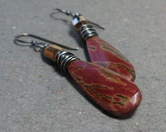 Jasper Earrings Brick Red Orange Long Gemstones Oxidized Sterling Silver Earrings Gift for Her Gift for Wife Wire Wrapped