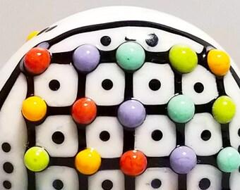Turple & Green Pop Dot Grid Barrel--Handmade Lampwork Bead