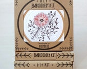 POPPY POWER embroidery kit - embroidery hoop art,  flower power, california wildflower, tattoo style, coral pink poppy, DIY stitching kit