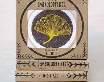 GINKGO embroidery kit - embroidery hoop art, ginkgo biloba leaf, golden leaf on black design, sashiko waves, fall decor, DIY stitching kit