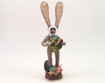 Vintage Inspired Spun Cotton Easter Bunny Rabbit Boy Figure