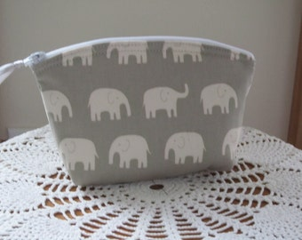 White Elephants Cosmetic Bag Clutch Zipper Purse   Made in the USA Bridal Wedding Gray