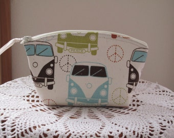 Retro Love Bus Cosmetic Bag Clutch Zipper Purse Essential Oils Case  Made in the USA Bridal Wedding