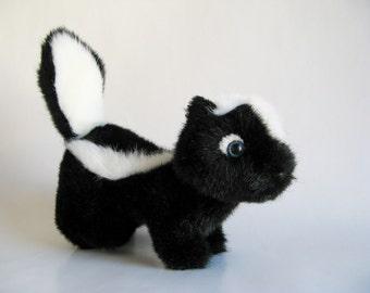 Vintage Skunk Stuffed Animal by GUND Kids Toy 1980s Toy Forest Animal Black and White Softie Plush Blue Eyes 1987 Toy Plush