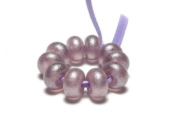 Silvery Pale Amethyst Pearl Spacers - Handmade Lampwork Glass Beads SRA