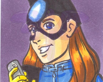 Batgirl, Artist Trading Card, ACEO, art card, Original art, Ink, Marker, OOAK
