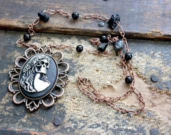Our Lady of Torment - Creepy Cameo Skeleton Necklace with Raw Black Tourmaline