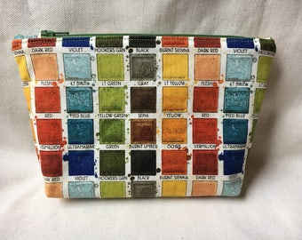 Paintbox Multi-Colored Zippered Pouch / Cosmetic Bag