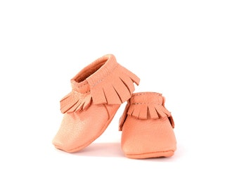Baby Moccasins- Coral Leather