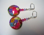 Polymer Clay and Swarovski Crystal Floral Dangle Earrings Wire Wrapped Silver Plate Leverback Hooks Butterfly Fuchsia Gifts under 5