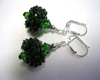 Moss Green Lampwork Earrings Bumpy glass with swarovski crystals in dark moss green leverback hooks securely wire wrapped gifts under 5