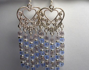 Lavender Blue Chandelier Earrings Czech Glass Swarovski Crystal Chandelier Earrings Shoulder Dusters Silver Hearts Leverback Hooks