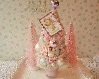 Bottle Brush Tree - Shabby PINK ROSES, Glitter ANGEL Tag, Mercury Glass