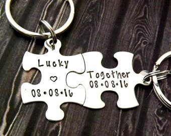 personalized keychain set - Couples Keychains, puzzle keychains, lucky together, personalized key chains, puzzle piece key chain
