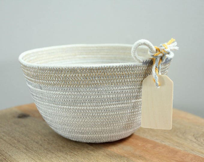 Basket rope coil grey natural metallic gold thread bin storage organizer bowl wooden tag by PETUNIAS