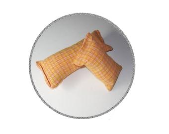 Catnip Cat Toy - Kick Stick - Orange Seersucker Upcycled Recycled