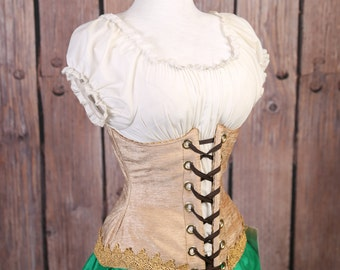 Waist 29-31  Gold with Lavish Lace Trim Wench Corset