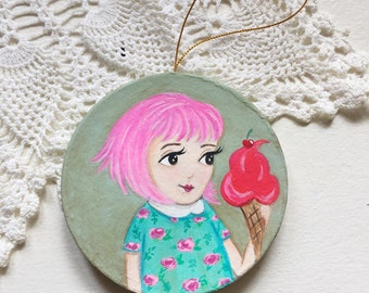 I Scream for Ice Cream Hand Painted Ornament Pink Hair Girl Valentine Heart Cone