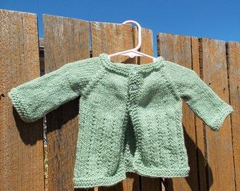 baby girl cardigan sweater - newborn infant jumper 0-3 months - pale light green - hand knit from Australian wool