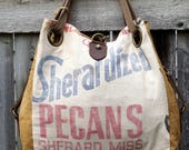 Sherandized Pecans - Sherard, Miss - Open Tote - Americana Upcycle Vintage OOAK Canvas & Leather Tote... Selina Vaughan Studios