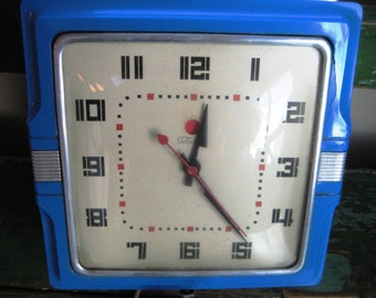 """Telechron Blue Working Electric Clock Mid Century """"Cafe"""" Model"""
