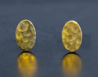 Oval Shape Brass Stud Earrings-Hammered Texture