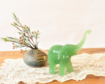 Vintage Jade Green Glass Elephant Miniature Figurine, Mini Glass Elephants, Pachyderm figurines, Tiny animals, Jade Color Elephant