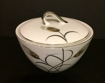 Lipper  Mann Gold and Silver Wheat Sugar Dish with Lid