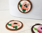 Floral Embroidery Hoop beaded magnetic needle keeper, embroidery, sewing notion