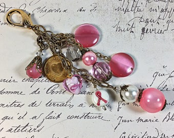 Zipper pull purse jewelry collection of vintage items beaded wire wrapped cancer awareness pink pearl hearts