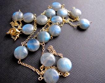 Labradorite Layering Necklace, Natural Gemstone 14K Gold Filled Chain, Blue Flash