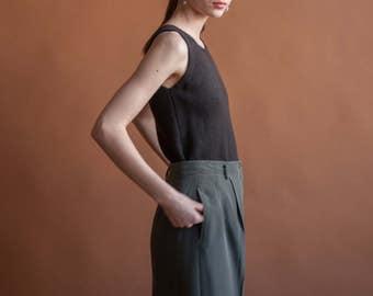 MAX MARA brown knit virgin wool tank top / simple knit sleeveless top / s / m / 2199t / B18