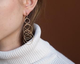 RESERVED. thin multi hoop drop earrings / drop hoop earrings / statement earrings / 1500a