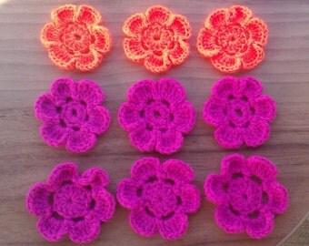 6 Hand crocheted yarn flowers - vivid orange or pink