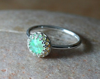 Opal Green Kiwi Stacking Ring Crown Gallery Princess Set, Sterling Silver Ring, Green Opal, Simulated Opal, Size 2 to 15.5, Solitaire Ring
